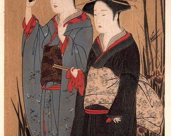 "1906, Japanese antique woodblock print, Katsukawa Shunsho, ""舞妓漫歩図"", from Ukiyoe-ha-gashu."