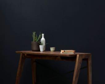 Solid Industrial Walnut Desk by KONK! Midcentury mordern inspired [Bespoke sizes!] Table, Writing Desk, Computer Desk, minimal, office Desk