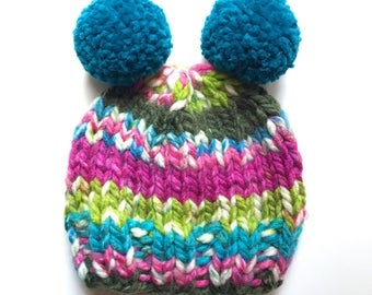 Child Knit Hat, Child Pom Pom Hat, Blue & Pink Knit Hat, Blue Pom Pom Hat, Colorful Hat, Newborn Knit Hat, Toddler Knit Hat, Kid Hat, Beanie