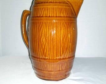 Vintage Barrel Pitcher,Pottery Pitcher,LRG,Brownware,Earthenware,Earthenware Pitcher,Tankard,Brown Pitcher,Vintage Pottery,Rustic,Primitives