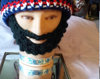 American Outlaws Bearded Beanie Soccer Handmade,Velcro both Sides Beard and Beanie to Remove Beard, American Outlaws Unite & Strengthen