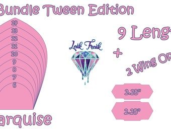 "Tween Marquise/Full Bundle/Cloth Pad Pattern/2.25"" Snapped Width/Leak Freak Compatible"