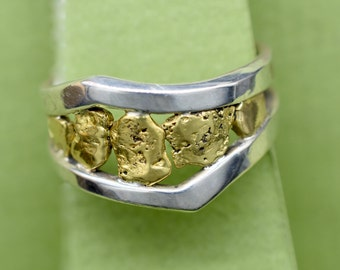 natural 24k nugget ring with sterling silver frame