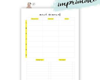 Planificador menú semanal. Plan comidas y compras para imprimir.