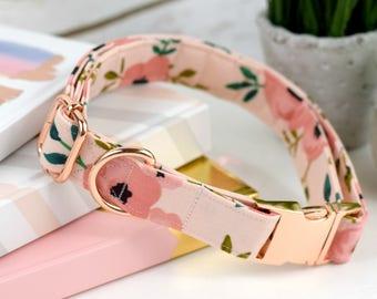 Dog Collar - Watercolor Floral Cotton Fabric Dog Collar - Pinks/Coral Flower Print Dog Collar - Fashion Dog Collar - Rose Gold Hardware