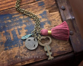 Vintage Charm Necklace | Boho Jewelry Los Angeles Transit Token Key Feather Tassel Birthday Gift