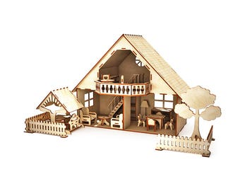 Dollhouse with furniture, gazebo and fence