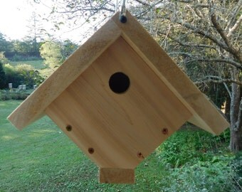 Cedar Wren Bird House,Traditional Wren Bird House,Cable Haning Bird House