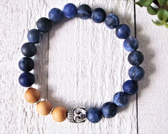 Sodalite bracelet mala / men women / Buddha bracelet / stretch bead bracelet / yoga bracelet for calm, meditation, stress relief /sandalwood