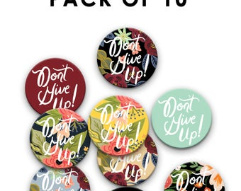 Pack of 10 38 mm/1.5 inch Don't Give Up Convention Pin Badges, Jehovah's Witnesses, JW Gift, Special Convention Gift, jw pins, jw.org pins