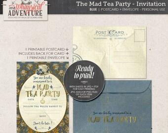Printable Alice In Wonderland party invitation, party printables, printable collage sheet, tea party, vintage mad tea party digital download