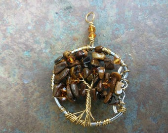 Tiger's Eye Tree of Life Pendant