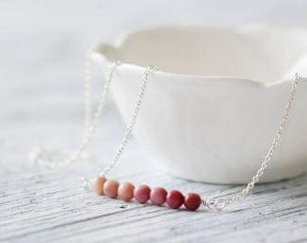 Gemstone bar necklace sterling silver necklace rhodonite necklace pink stone bar beaded bar rhodonite jewelry sterling silver 925 jewelry