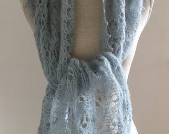 Blue Hand Knitted Lace Alpaca Silk Scarf for Women, Brides Made Shawl,Winter Lace Scarf, Lace Mohair Stole in Blue, Winter Lace Shawl