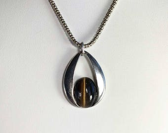 Faux Tigers Eye Necklace - Vintage Necklace - For Women