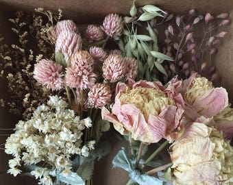 Bloomery Blend No. 0017: Short Stem Peonies & Mixed Dried Flower Bunches /  Pink - Natural White - Green