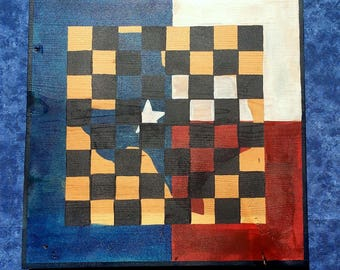 Texas map chess/checker board//chess board//hand painted board//game room art//man cave art