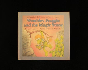 """Vintage Jim Henson's The Muppets Fraggle Rock Book """"Wembley Fraggle and the Magic Stone"""" Hard Cover 1986"""