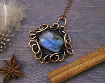 Unique jewelry women Gift ideas-for-her Flash labradorite pendant necklace-for-her Labradorite necklace Art deco necklace gemstone jewelry