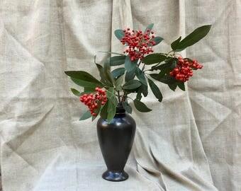 "Vintage Bauer Pottery Tracy Irwin #511 Gun Metal Black glaze Art Vase 9 1/4"" tall"