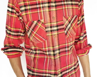 Vintage 1970s Red Heavyweight Plaid Long Sleeve Button-Up / Size (S/M)