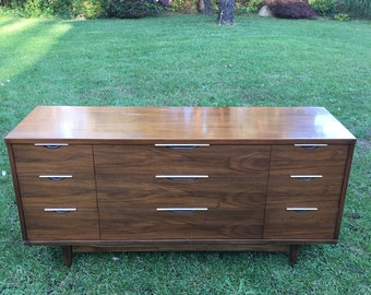 Mid Century Modern Kent Coffey The Tableau Dresser, Walnut Long Dresser, Kent Coffey Credenza or TV Stand, Matching Pieces Available