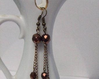 PRICE reduced: Beads faceted Bohemian bronze earrings