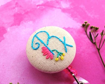 Rx ID badge holder | hand embroidered Rx badge holder, ID badge reel, retractable badge holder, pharmacist gift, pharmacy tech gift