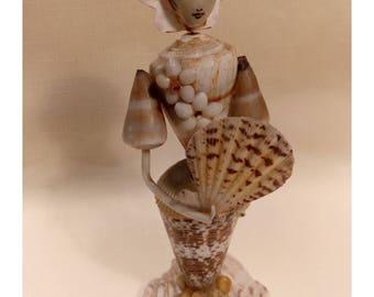 Vintage Geisha Girl, Sea Shell Figurine, Shell Art, Kitsch