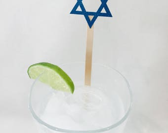 15 Hanukkah Swizzle Sticks - Star of David - Chanukah - Party - Cheers - Drink Stirrers - Stir Sticks - Blue
