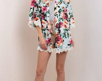S M L ~ Mint Floral Lace Trim Kimono Cardigan