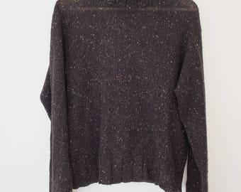 Vintage Black Knit Turtleneck Sweater