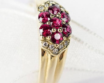 Yellow gold 14 k ring Natural Ruby and Diamond