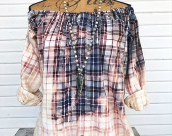 SIZE LARGE - Off Shoulder Distressed Flannel - Oxy Flannel - Shoulder Flannel - Distressed Flannel - Bleached Flannel #6