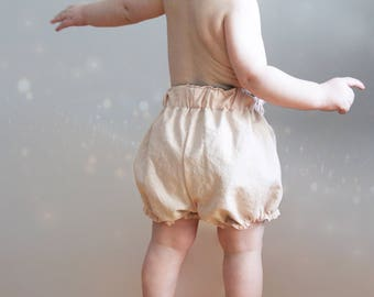 Bloomers, Shorts, Linen, Coton, Reversible, Toddler, Baby shower gift idea, Diaper cover, Elastic waist, Blush pink, Flower