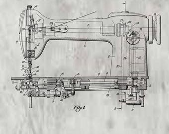 Sewing Machine Patent #2354510 dated Feb. 5, 1946. Restored and in various sizes and color background.