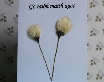 3 Irish  Language 'Thank You' Cards.  Each made with Connemara wild flowers, carefully picked and pressed individually.