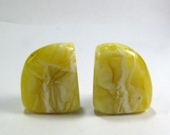 """Elegant Baltic Amber Butterscotch Clip on Earrings  1.0"""" Yellow White Natural Baltic Amber Slabs 10,8 gram"""