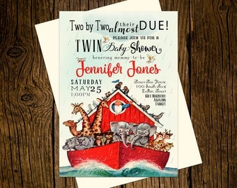 Noah's Ark Twins Baby Shower Invitations Printed Vintage Boy Girl Red Animals