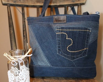 We demand - Upcycled denim handbag \Sur request - purse made with recycled denim