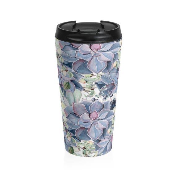 Travel Mug Blue Succulents Pattern Stainless Steel Tumbler