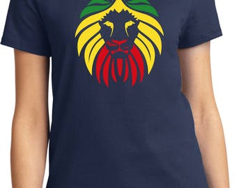 Ladies Rasta Lion Head Tee T-Shirt LIONHEAD-LPC61