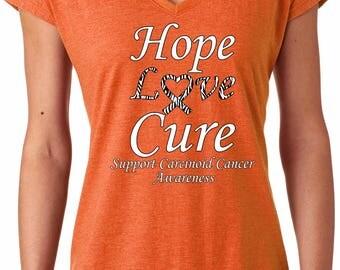 Ladies Hope Love Cure Support Carcinoid Cancer Awareness Tri-Blend V-Neck Shirt HLC-SCCA-6750VL