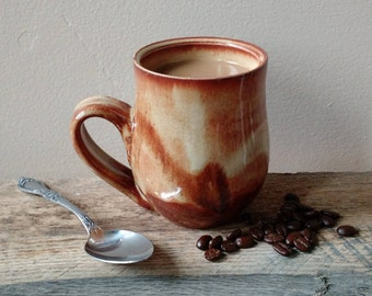Orange and Cream Mug, Ceramic, Ready to Ship