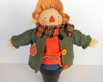 Scarecrow, Scarecrow Doll, Potted Scarecrow, Fall Decor, Halloween Decor, Home Decor, Art Doll, Harvest