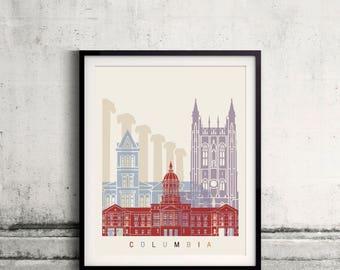 Columbia MO skyline poster - Fine Art Print Landmarks skyline Poster Gift Illustration Artistic Colorful Landmarks - SKU 2438