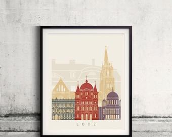 Lodz skyline poster - Fine Art Print Landmarks skyline Poster Gift Illustration Artistic Colorful Landmarks - SKU 2496
