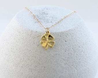 Four Leaf Clover Necklace, Vermeil Gold Clover Good Luck Charm Necklace, Shamrock Charm on 14K Gold Filled Chain