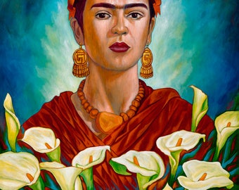 Frida entre Alcatraces II- Giclee on Canvas Mounted on  Wooden Block