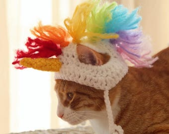 Unicorn Hat for Cats, Unicorn Hat for Small Dogs, Unicorn Mane for Small Dogs, Funny Halloween Costumes for Pets, Funny Cat Accessories